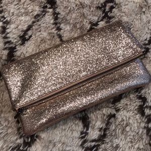 Rose gold sparkle clutch